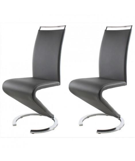 SIDNEY Lot de 2 chaises de salle a manger en métal - Revetement simili gris - Contemporain - L 49,5 x P 61 cm