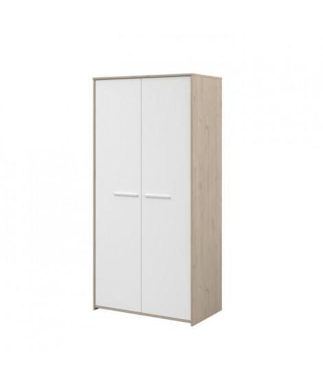 LIAM Armoire enfant 2 portes - décor chene jackson et blanc - L90 cm