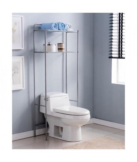 Pont WC en métal - Gris aluminium - L 62 x P 25 x H 151 cm