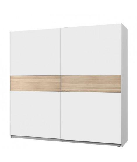 ATOS Armoire 2 portes coulissantes - Blanc et Décor chene - L 220,1 x P 61,2 x H 209,7 cm