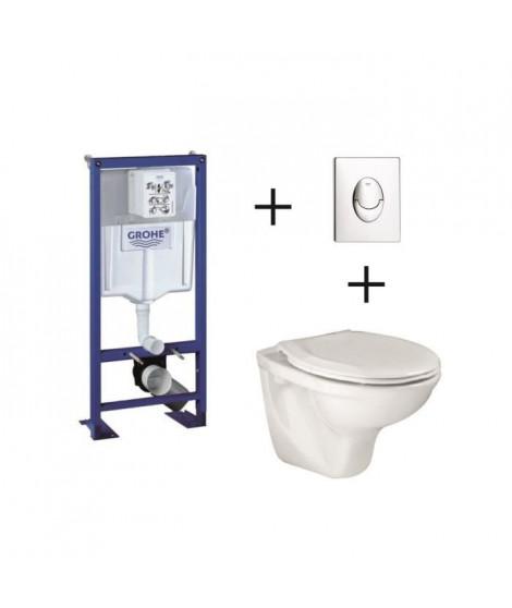 Pack complet wc suspendu  GROHE Bâti-support 113 cm + plaque chromée + cuvette Lyra + abattant