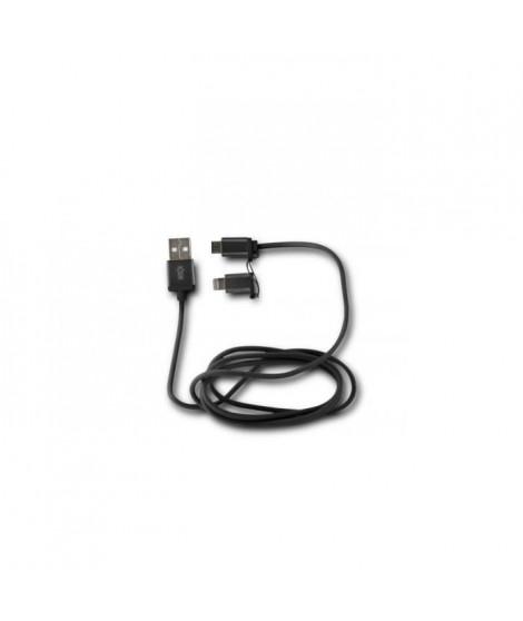 KSIX Cable USB 2en1 Micro USB + Lightning MFI Metal Noir