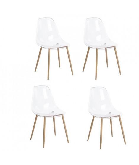 CHARLTON Lot de 4 chaises avec pieds en métal - Style scandinave - Transparent