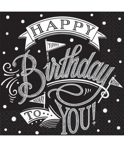 AMSCAN Lot de 36 Serviettes Hooray It's Your Birthday 25 x 25 cm