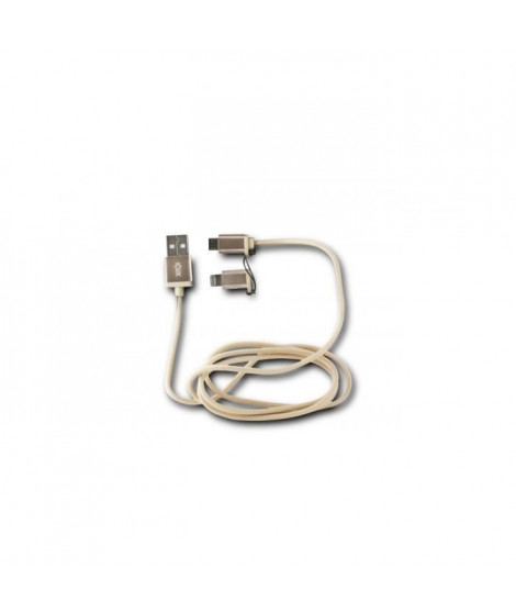 KSIX Cable USB 2en1 Micro USB + Lightning MFI Metal Or