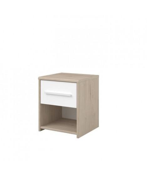 LIAM Chevet enfant 1 tiroir et 1 niche - décor chene jackson et blanc - L34 cm