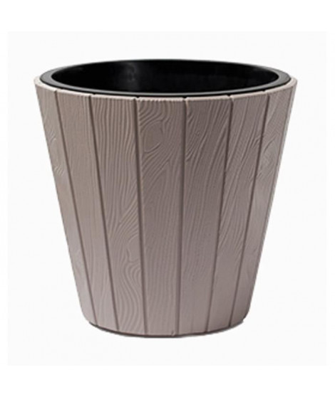 PROSPERPLAST Pot rond Woode - Ø 393 mm - Marron moka