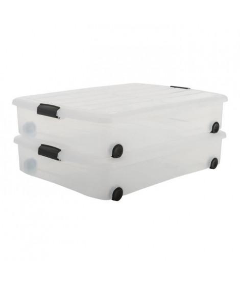 IRIS OHYAMA Lot de 2 boîtes de rangement - Transparent - 50 L - 75 x 56 x 15,7 cm