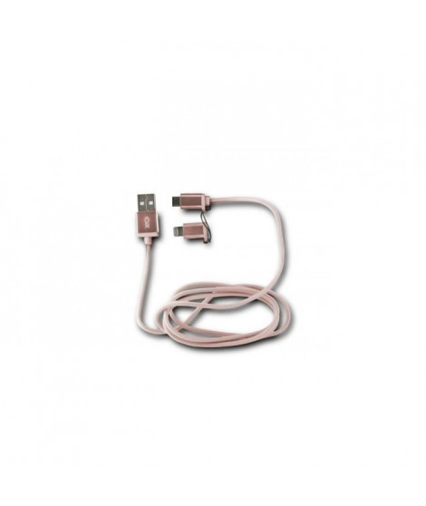 KSIX Cable USB 2en1 Micro USB + Lightning MFI Metal Rose