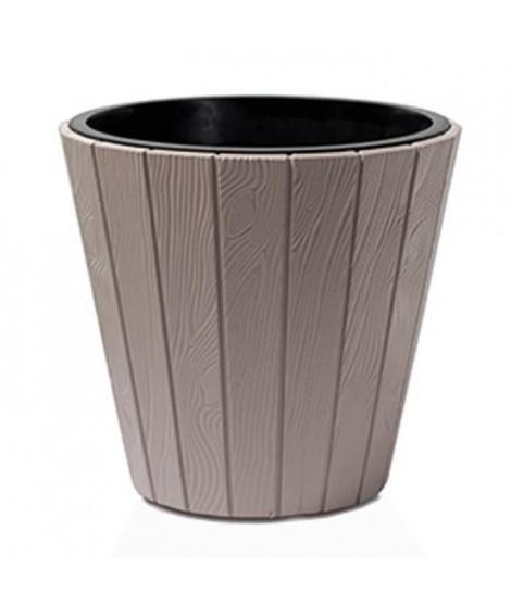 PROSPERPLAST Pot rond Woode - Ø 488 mm - Marron moka