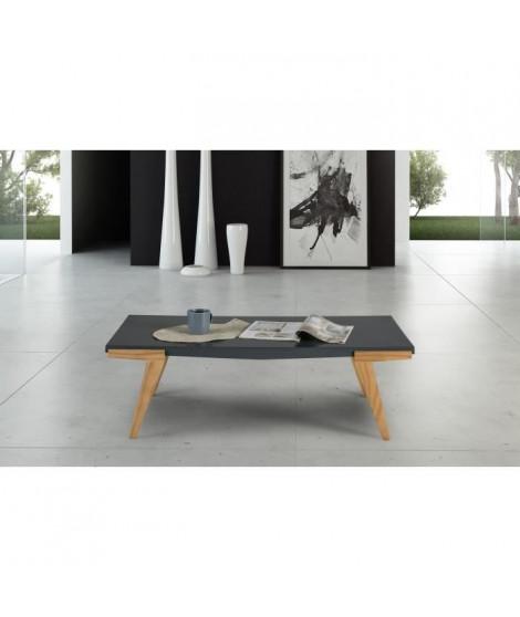 TINA Table basse - Décor gris ciré - L 110 x P 56 x H 35 cm