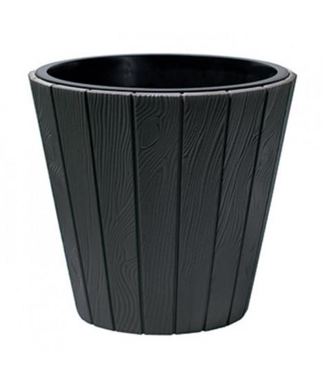 PROSPERPLAST Pot rond Woode - Ø 488 mm - Gris anthracite