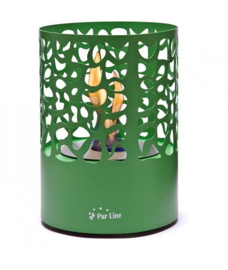 PURLINE ASTREA GREY Cheminée bioéthanol de table design de forme ronde verte