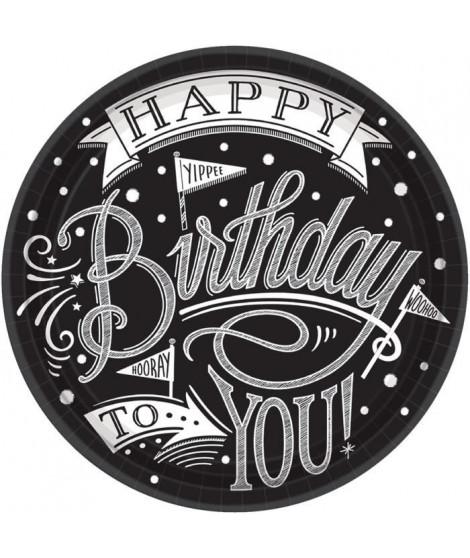 AMSCAN Lot de 18 Assiettes carton Hooray It's Your Birthday 17,7 cm
