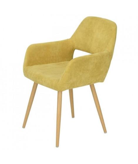 CROMWELL Chaise de salle a manger en métal imprimé bois - Revetement tissu jaune - Style scandinave - L 56 x P 56 cm