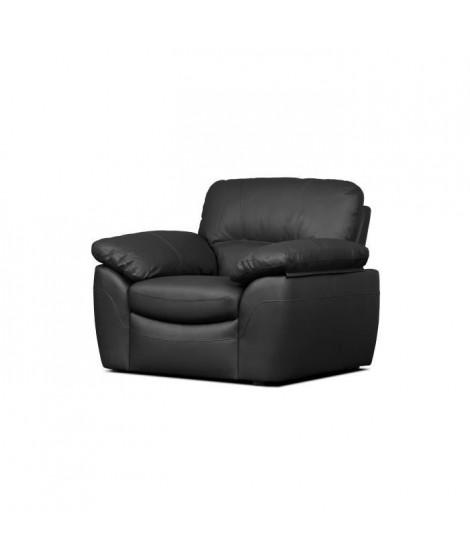 ELVIS Fauteuil fixe - Cuir de vachette et PU noir - Style contemporain - L 110 x P 97 cm