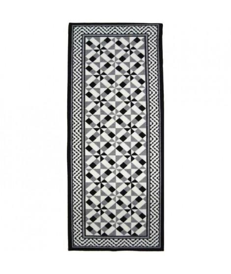 UTOPIA Tapis de salon carreaux de ciment 50x100 cm - Noir, gris et blanc