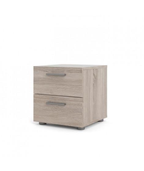 TYHJA Chevet 2 tiroirs - Chene Truffe - L 40 x P 40 x H 42 cm
