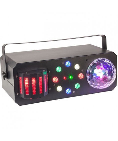 IBIZA LIGHT 16-2060 Effet de lumiere 4 en 1 - Stroboscope / Astro / Derby / Laser - 18 LED 3 W