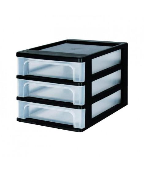 IRIS OHYAMA Tour de rangement 3 tiroirs - Plastique - Noir - 12 L - 35,5 x 26 x 25,5 cm