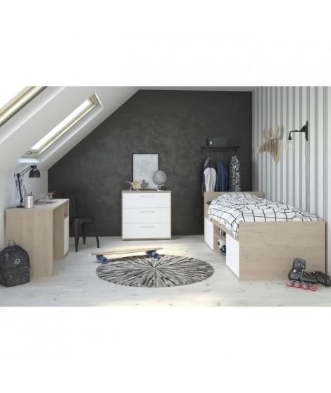 LIAM Chambre enfant complete 3 pieces - Lit + commode + bureau - Style contemporain - Décor chene jackson et blanc
