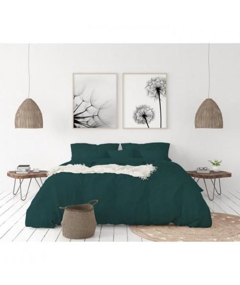 LOVELY HOME Parure de couette en 100% lin 220x300 cm + 1 drap housse 140 x 190 cm + 2 taies 65x65cm - Coloris Vert foret
