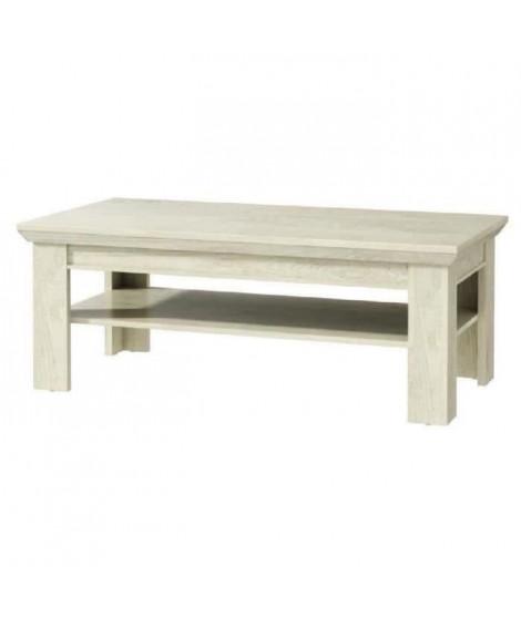 KASHMIR Table basse classique décor pin blanc mat - L 120 x l 60 cm