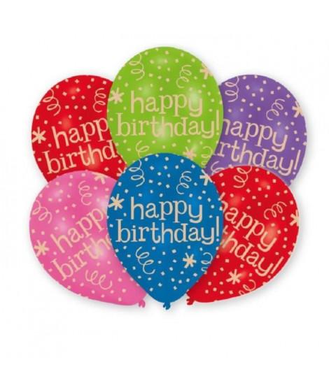 AMSCAN Lot de 6 ballons en latex imprimé Happy Birthday - 27,5 cm