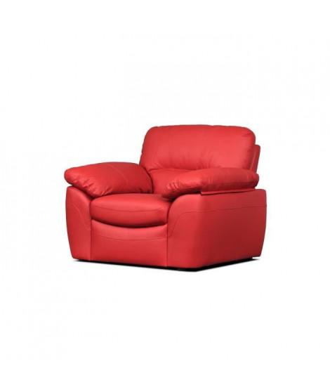 ELVIS Fauteuil fixe - Cuir de vachette et PU rouge - Style contemporain - L 110 x P 97 cm