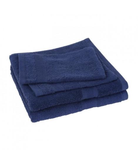 Lot de 2 serviettes + 2 gants ELEGANCE marine