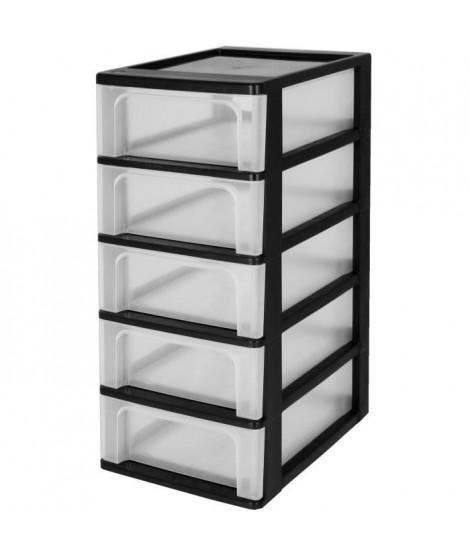 IRIS OHYAMA Tour de rangement 5 tiroirs - Plastique - Noir - 35 L - 35,5 x 26 x 61 cm