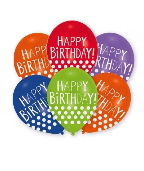 AMSCAN Lot de 6 ballons en latex imprimé Happy Birthday Dots - 27,5 cm