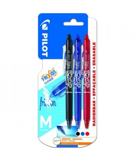 PILOT - Frixion Ball Clicker Moyen - Encre bleue / noire / rouge - x3