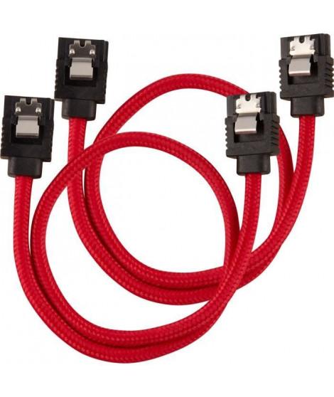 CORSAIR Câble gainé Premium SATA 6Gbps Rouge 30cm Droit - (CC-8900250)