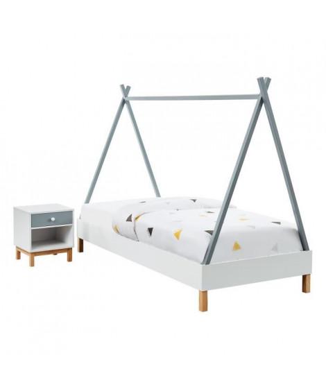 TIPI Lit cabane + table de chevet enfant scandinave blanc et gris laqué mat + pieds pin - l 90 x L 190 cm - Sommier a lattes …