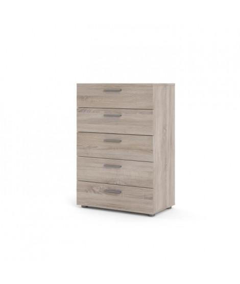 TYHJA Commode 5 tiroirs - Chene Truffe - L 70 x P 40 x H 102 cm