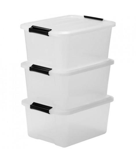 IRIS OHYAMA Lot de 3 boîtes de rangement Top Box TB-15 - Plastique - 15 L - 39 x 29 x 18,6 cm - Transparent et Noir