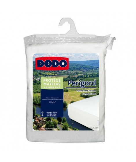 DODO Protege-matelas molleton absorbant Perigord - 230 g/m² - 90 x 190 cm - Blanc