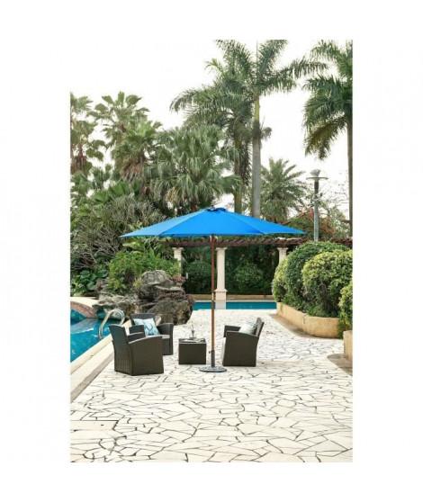 Parasol en bois rond et polyester 160g/m² - Arc 3 m - Bleu profond