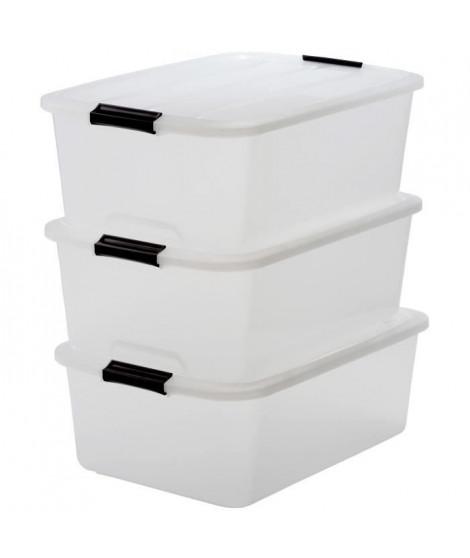 IRIS OHYAMA Lot de 3 boîtes de rangement Top Box TB-30 - Plastique - 30 L - 57,5 x 39 x 20,5 cm - Transparent et Noir