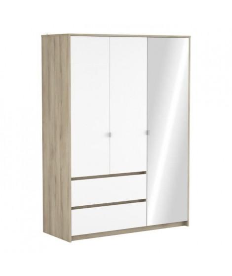 TITAN Armoire 3portes + 2 tiroirs - Décor chene kronberg et blanc - L 139,5 x P 55,2 x H 193,2 cm