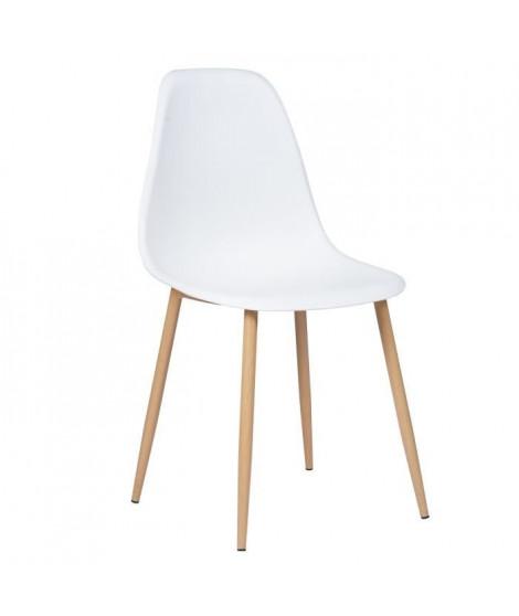CHARLTON Lot de 2 chaises avec pieds en métal - Style scandinave - Blanc