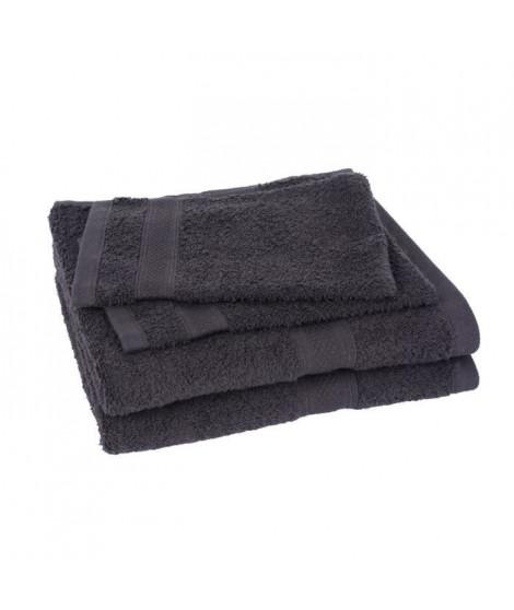 Lot de 2 serviettes et 2 gants ELEGANCE anthracite