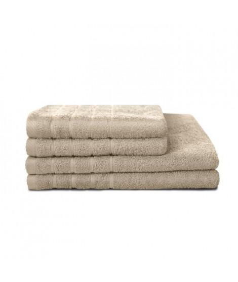 LOVELY HOME Lot de 4 pieces Eponge 100% Coton Couleur Lin - 2 Serviettes 50x90cm + 2 Draps de Douche 70x130cm