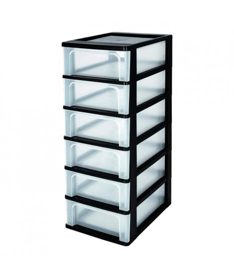 IRIS OHYAMA Tour de rangement 6 tiroirs - Plastique - Noir - 42 L - 35,5 x 26 x 77,5 cm