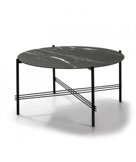KEVIN Table de salon - Verre marbré noir - Ø 84 x H 43 cm