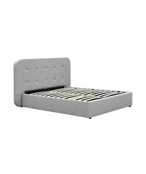 BULGO Lit coffre 160x200cm + sommier inclus - Tissu gris clair