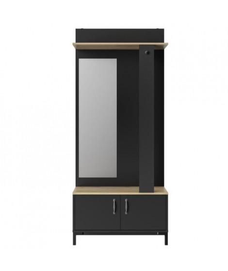 STORE Meuble d'entrée 2 portes -  Décor chene sonoma et noir - L 81 x H 190 x P 37 cm