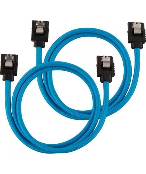 CORSAIR Câble gainé Premium SATA 6Gbps Bleu 60cm Droit - (CC-8900255)