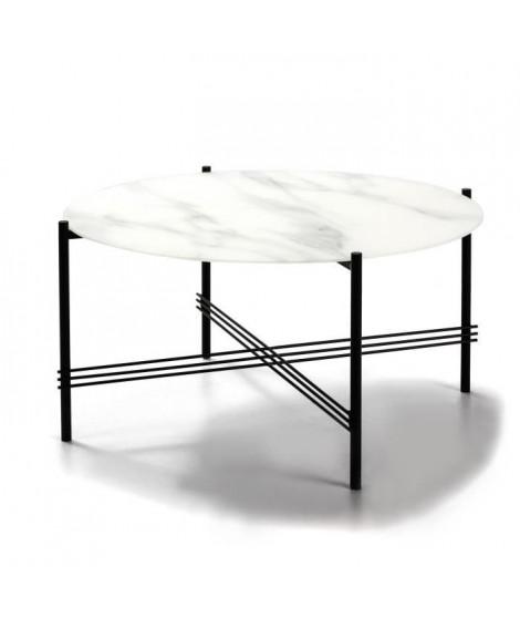 KEVIN Table de salon - Verre marbré blanc et noir - Ø 84 x H 43 cm
